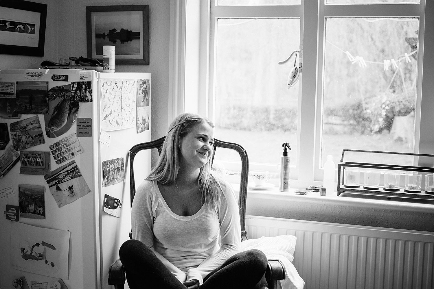 Bridesmaid relaxing prior to Hilltop Country House wedding