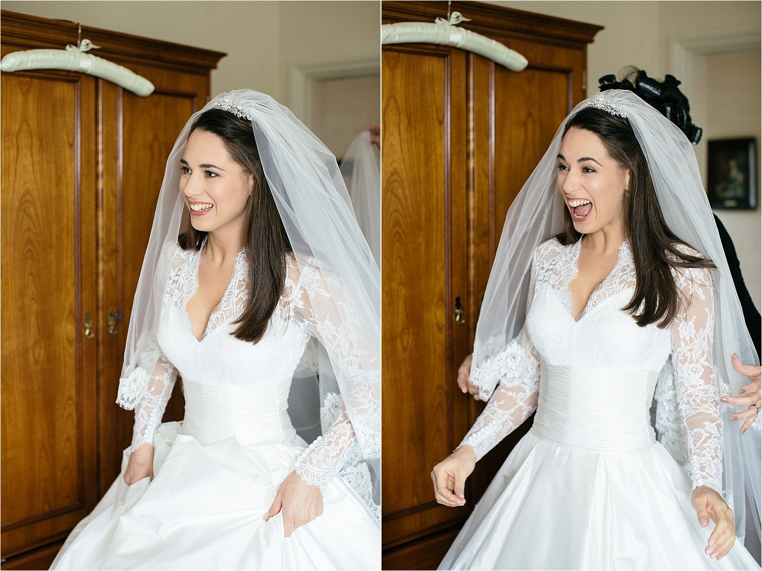 The beautiful bride and her reaction to her reflection as she is finally ready for her Cheshire wedding