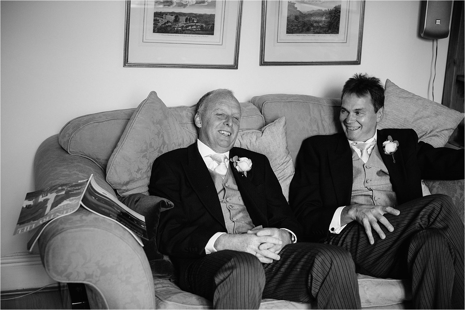 Bridegroom and best man relaxing before Hilltop Country House wedding