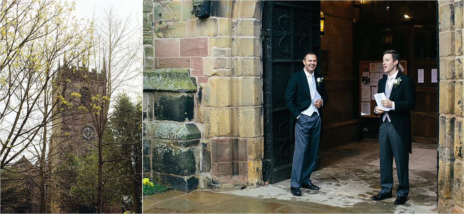 Bridegroom and his best man waiting outside the church in Prestbury