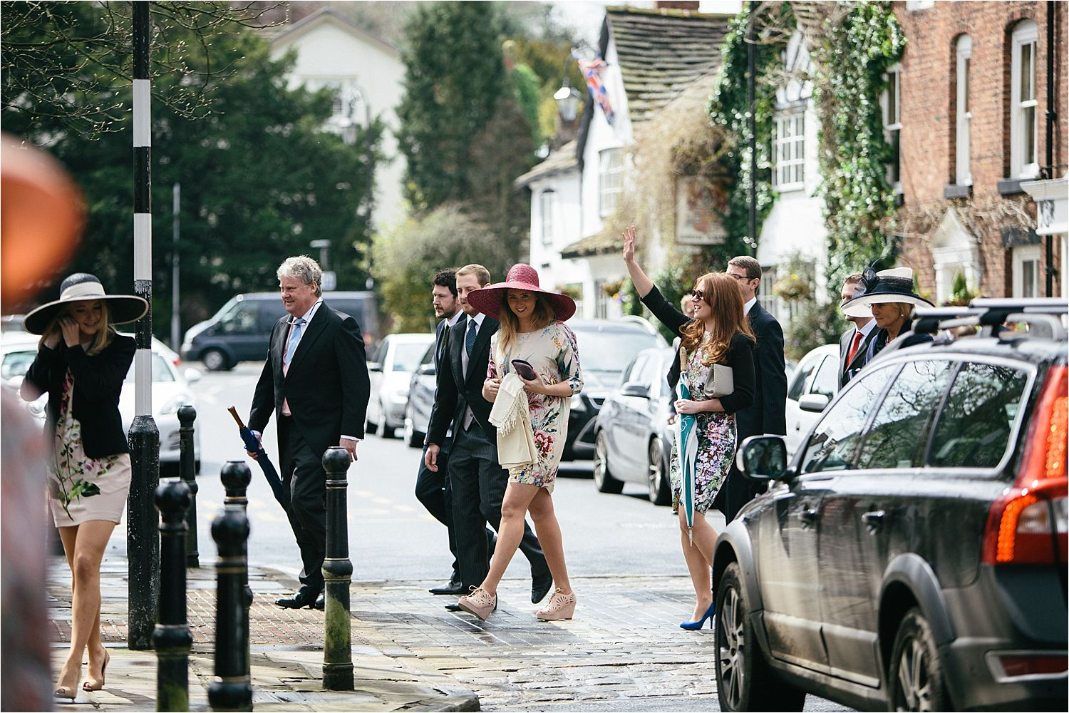Guests arriving for Cheshire wedding in Prestbury