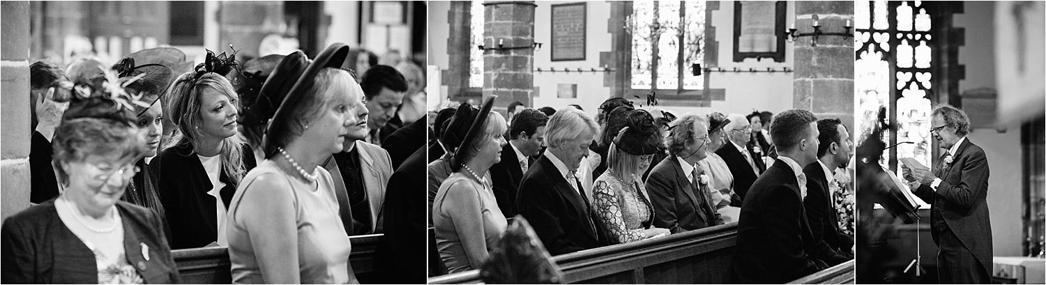 Wedding guests listen to the reading at Cheshire wedding