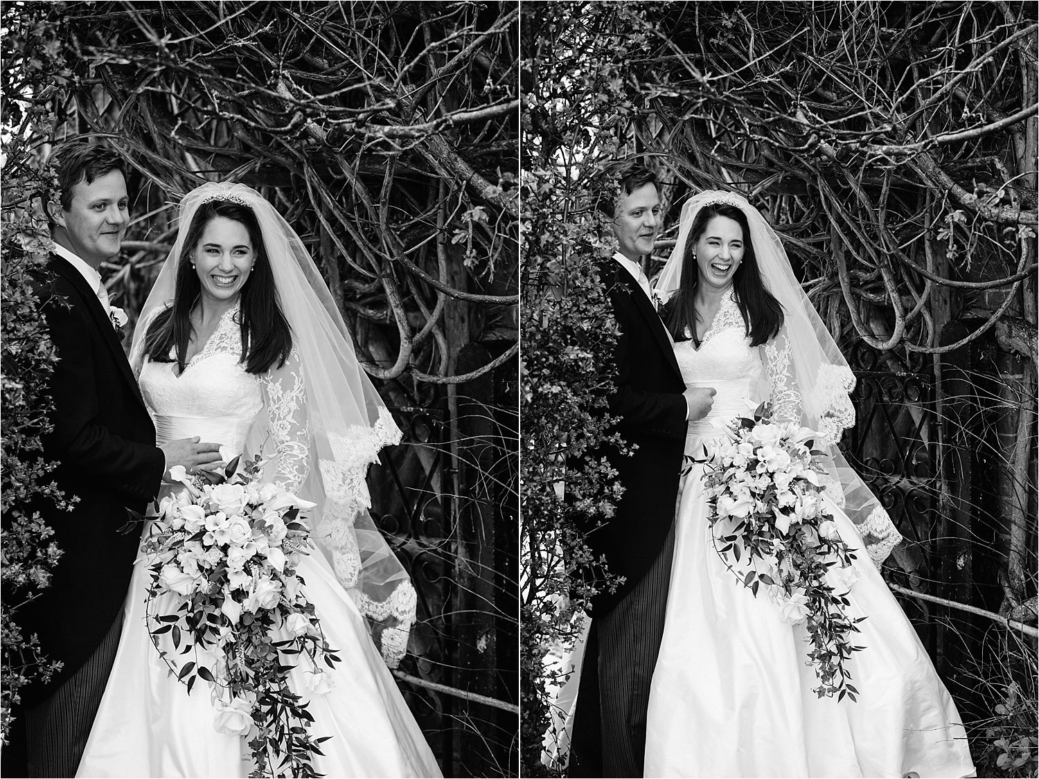 Bride and groom in the gardens of Hilltop Country House