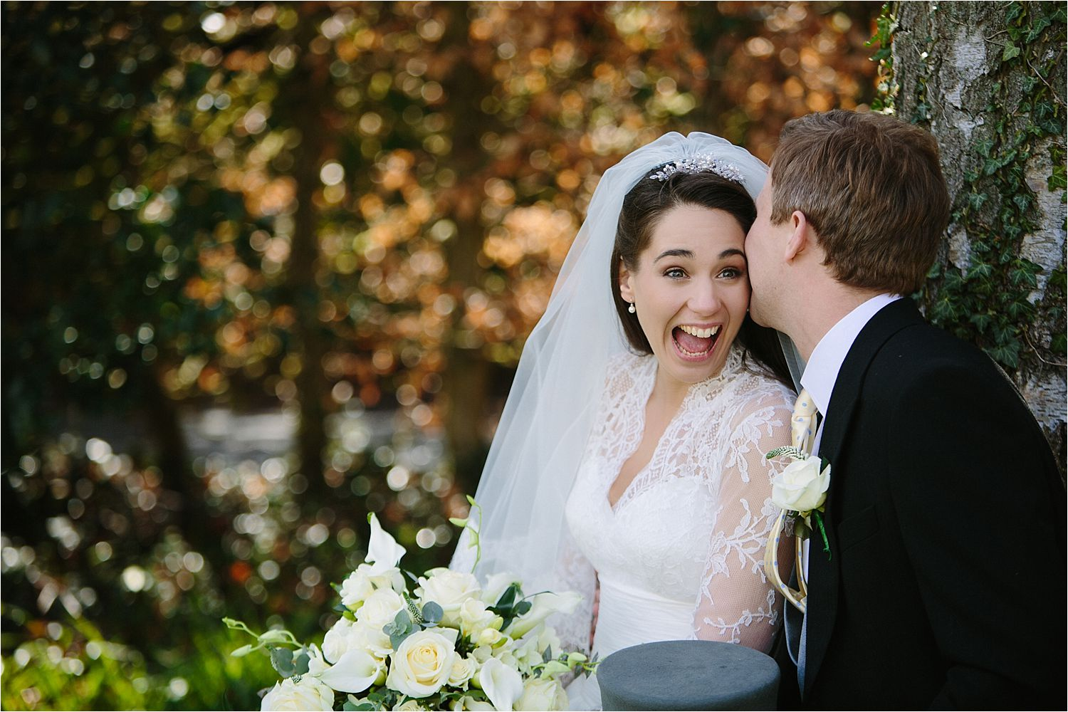 Bride's big smile at Hilltop Country House wedding reception, Cheshire