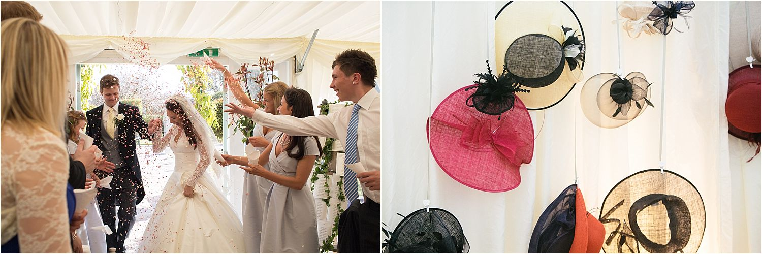Bride and groom in confetti shower and wedding hats hung up in marquee at Cheshire wedding