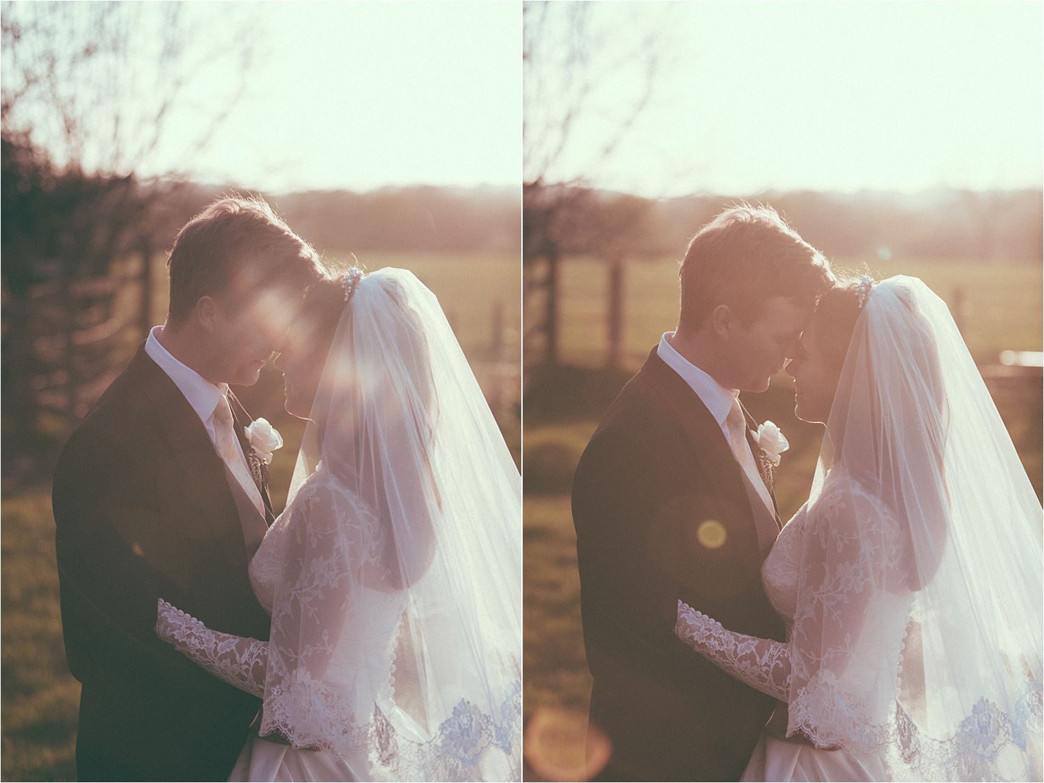 Bride and groom in the evening sunshine at Hilltop Country House