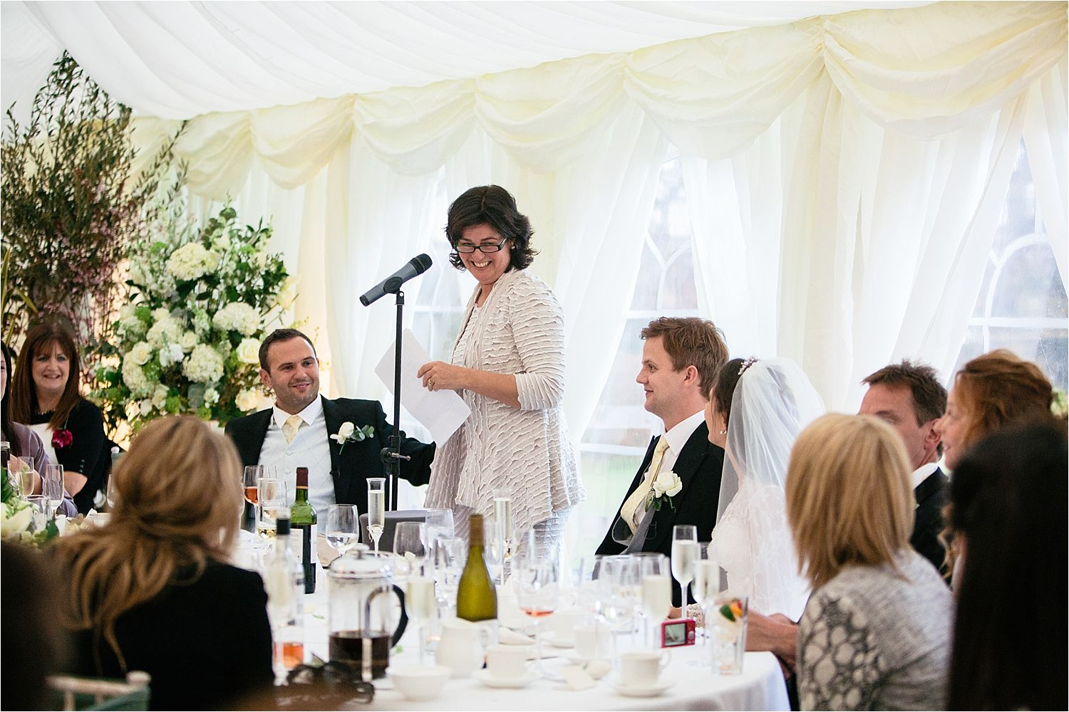 Guests enjoy the speeches at Cheshire wedding venue Hilltop Country House