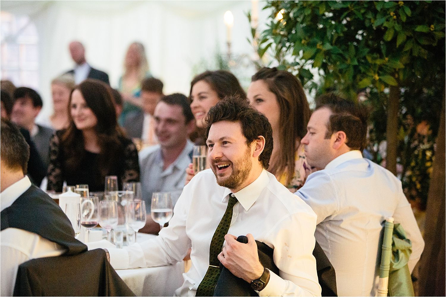 Wedding guest's reactions to speeches at  Cheshire marquee wedding