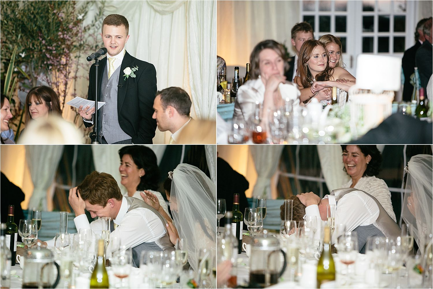 Guests reactions to best man's speech at Cheshire wedding