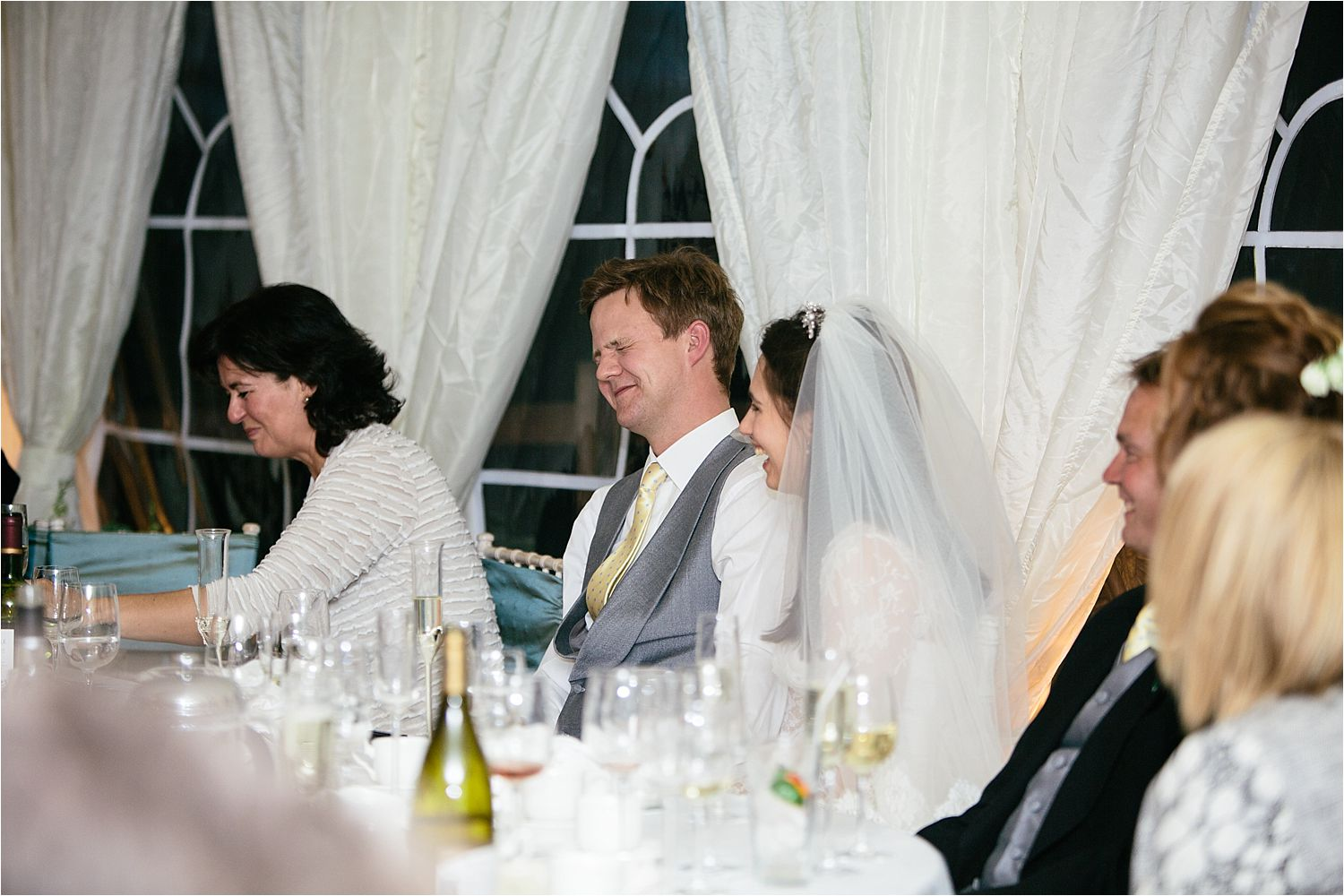 Groom's reaction to Best man's speech at his Cheshire wedding