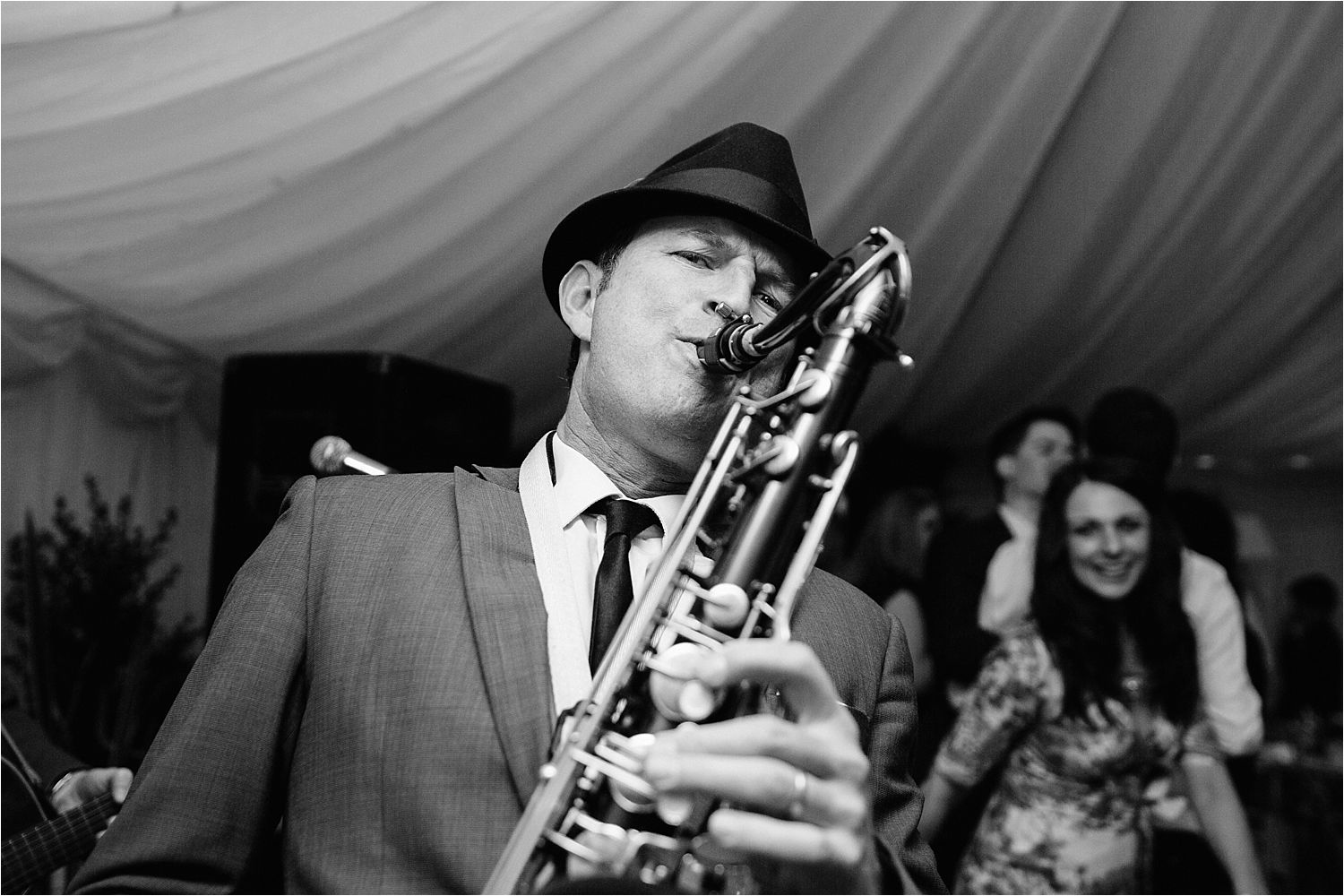 Saxophone player at Cheshire wedding party
