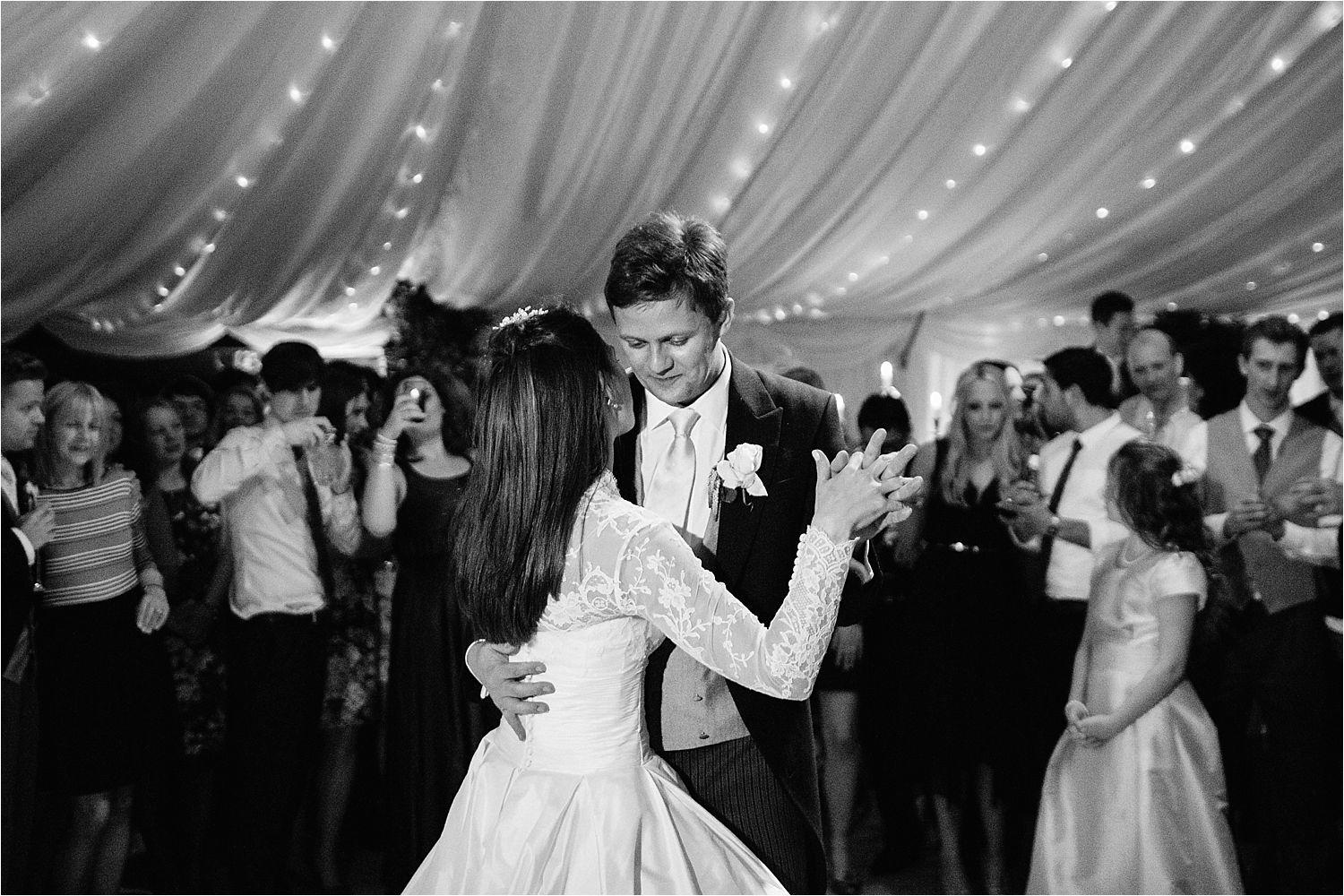 First dance for bride and groom at their Cheshire wedding