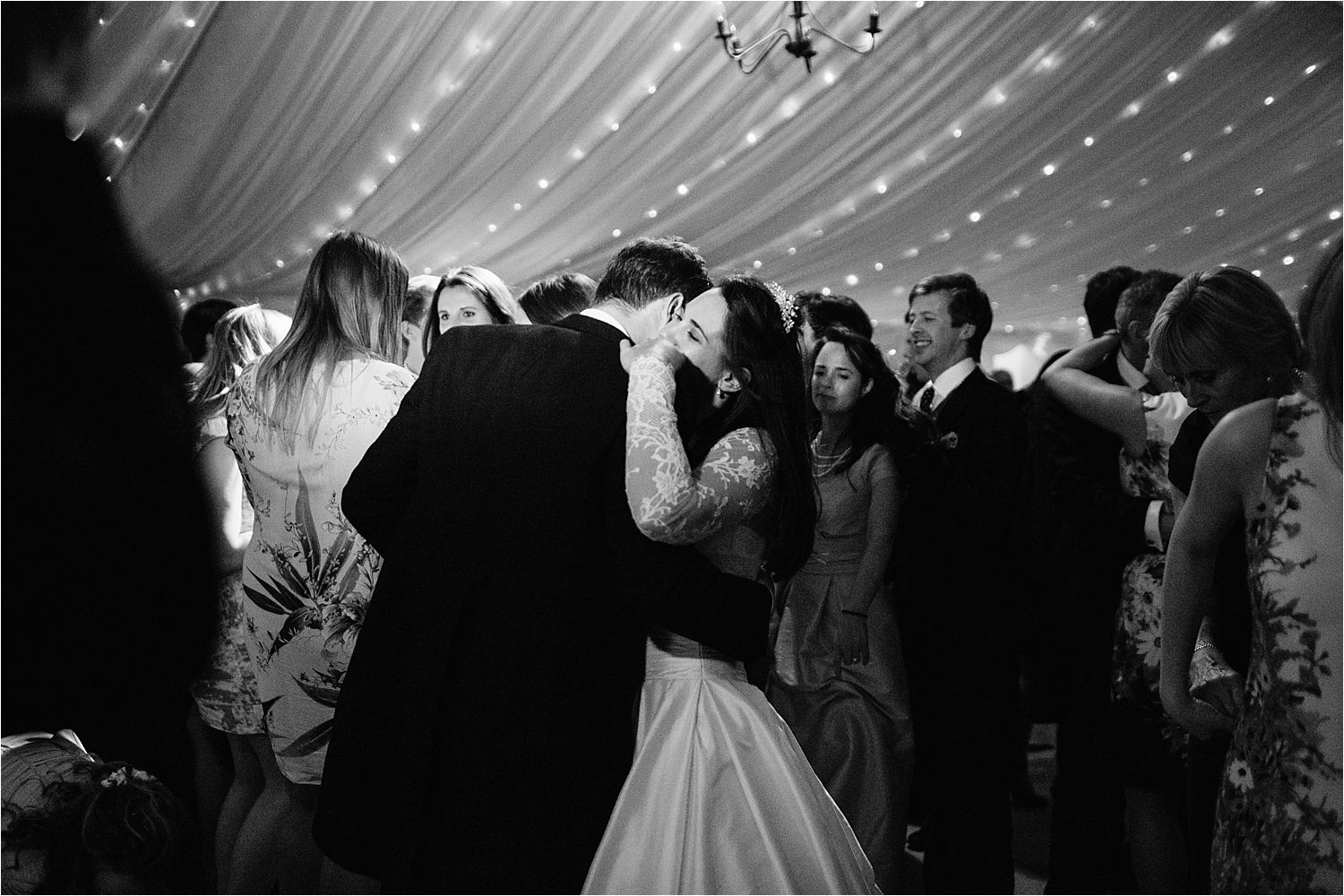 Wedding guests join the dancing at the evening reception at Hilltop Country House