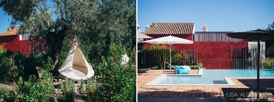 Poolside and hanging chairs at Fazenda Nova Country House in Portugal