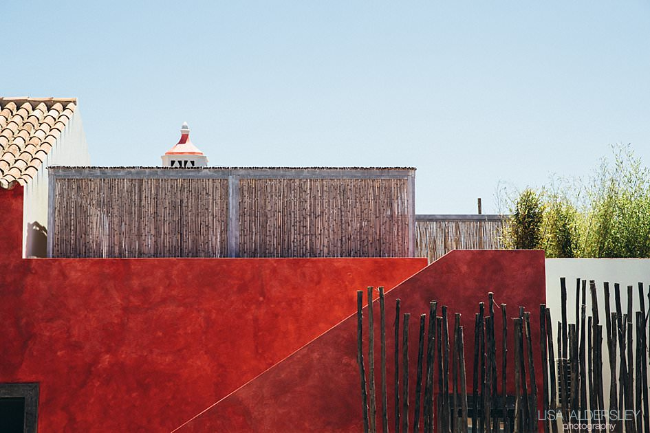 beautiful pomegranite coloured wall at Fazenda Nova, Portugal