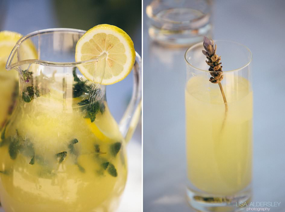 Fresh lemonade decorated with lavender springs