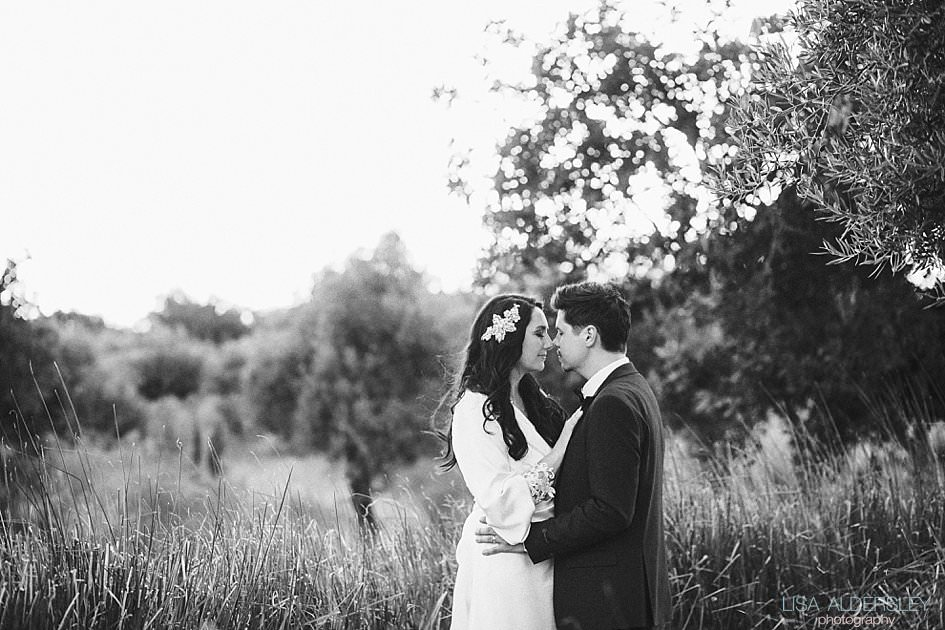 Bride and groom in the gardens of Fazenda Nova Hotel