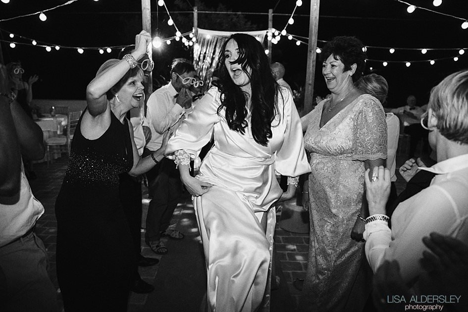 Bride dancing at the wedding reception