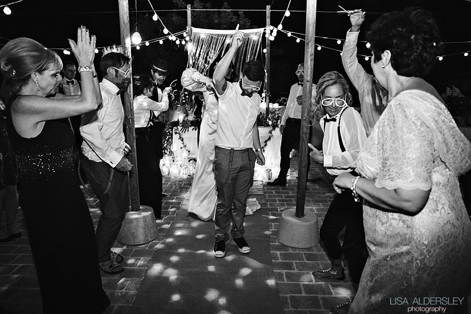 Guests dancing at the wedding reception