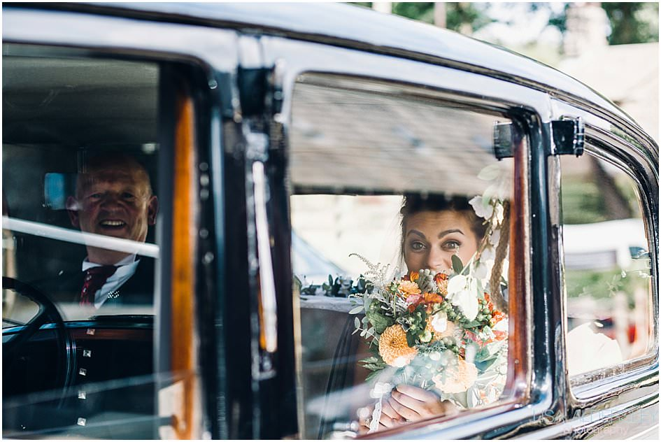 Bride arriving at Browsholme hall