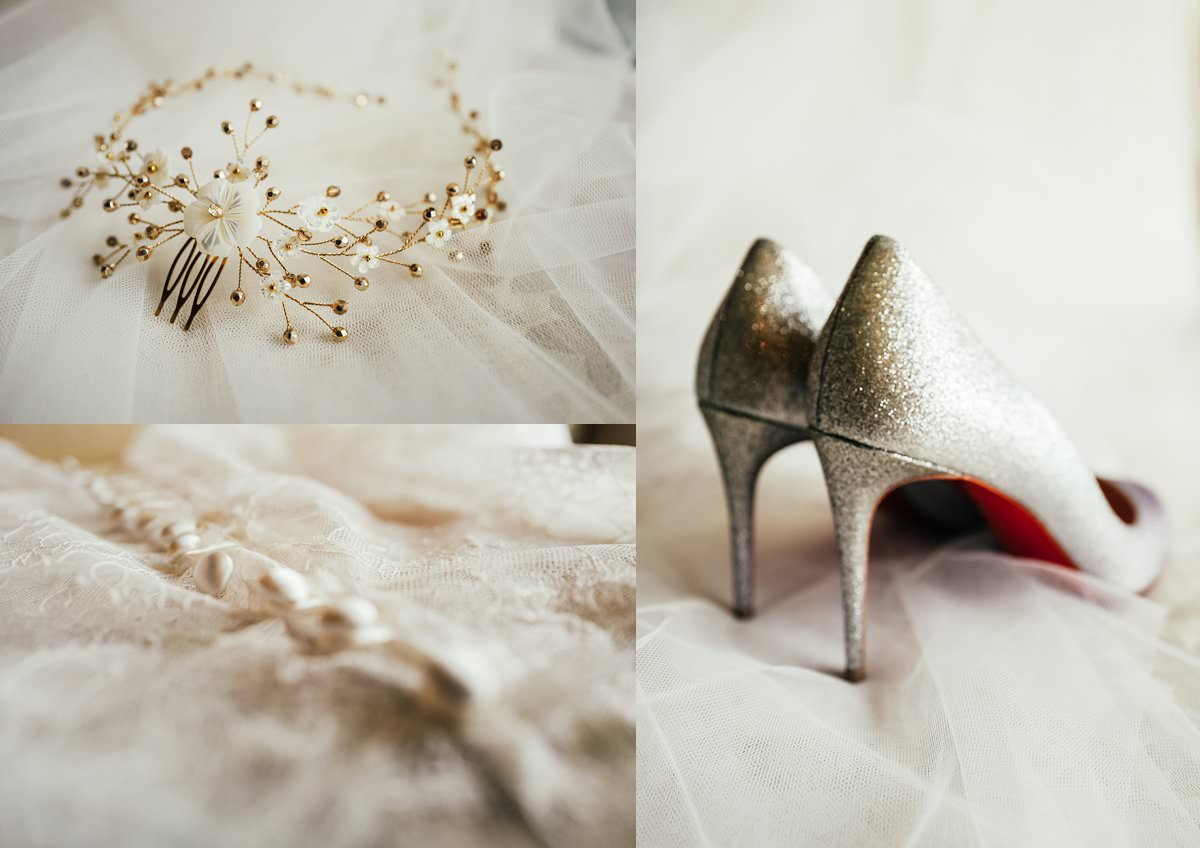 Wedding shoes and accessories at a Gilpin House wedding