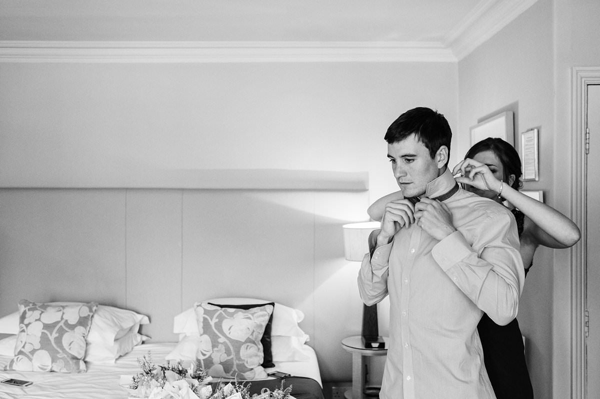 Groom preparations at the Gilpin Hotel