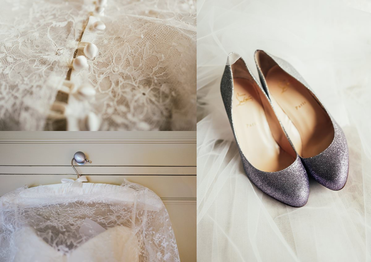 Brides dresss and Christian Louboutin shoes