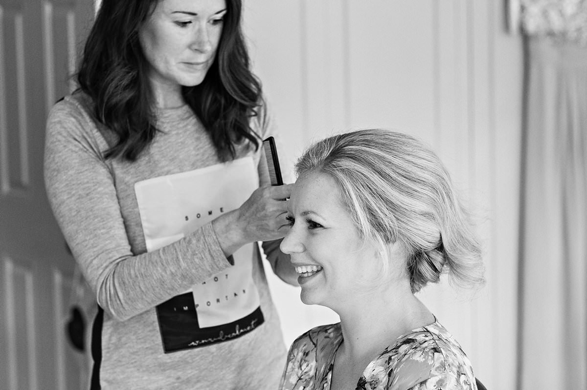 Katie Dale doing the bride's hair