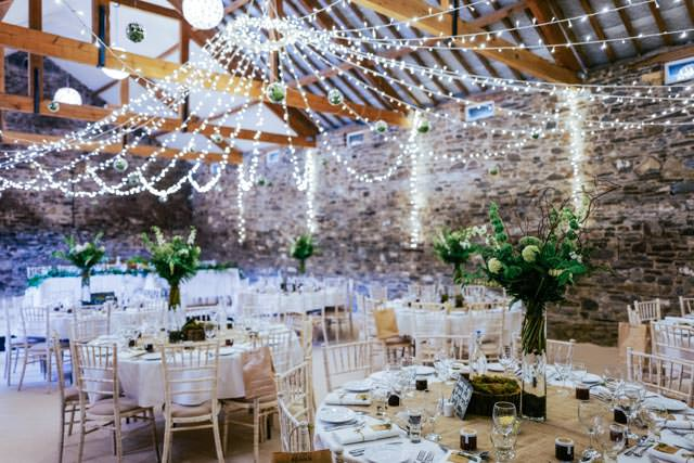 The barn dressed for the wedding at New House Farm in Lorton