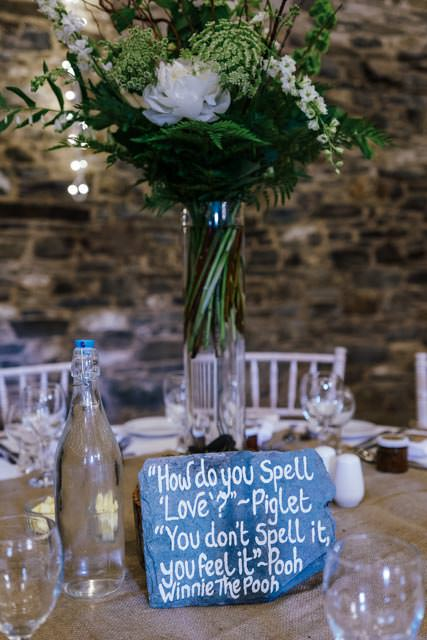 Sign and flowers on the table at a wedding reception