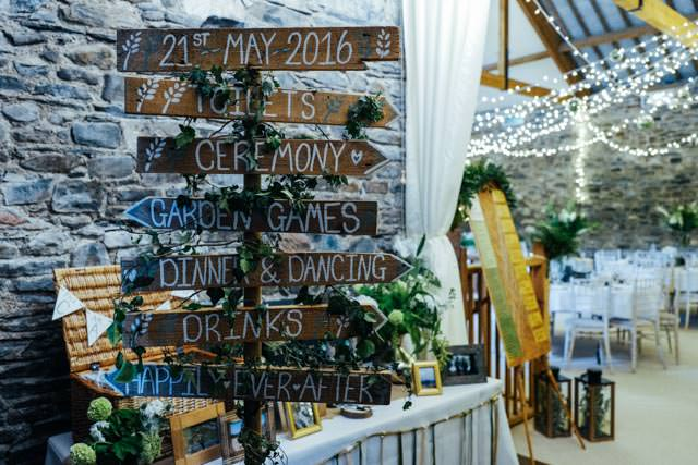 Order of the wedding day on wooden signs