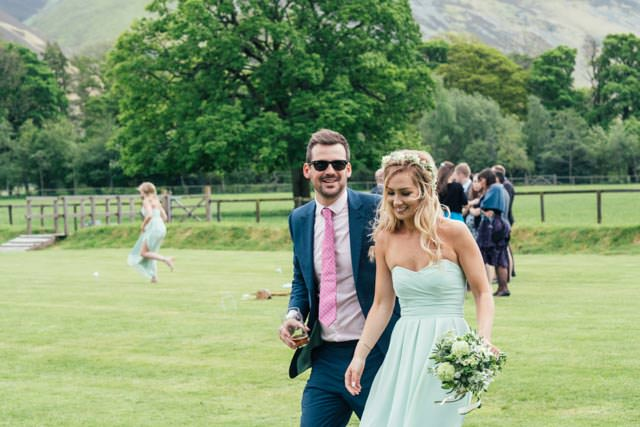 Wedding guests at New House Farm in Cumbria
