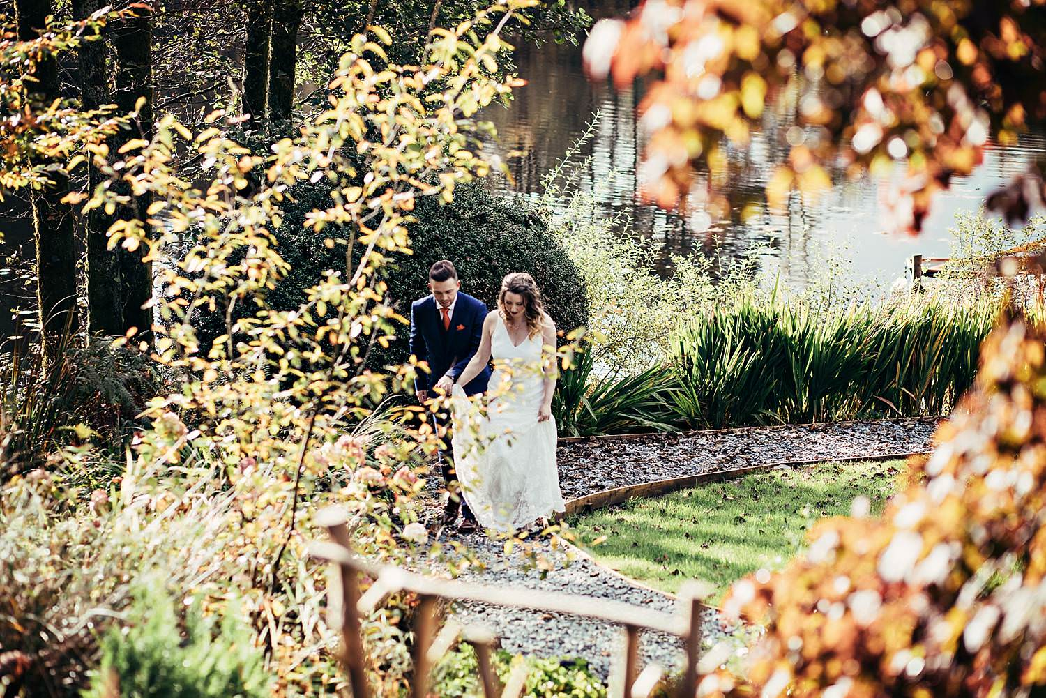 Bride and groom in the gardens of Gilpin Lake House