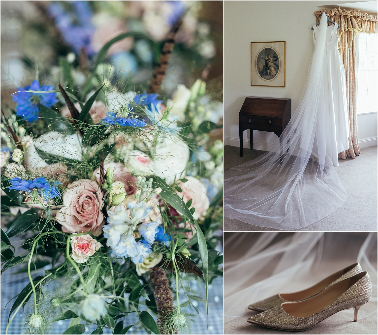 Wedding flowers by The Flower Shop in Clitheroe and Bridal gown by Jesus Peiro for Lancashire wedding at the Inn at Whitewell