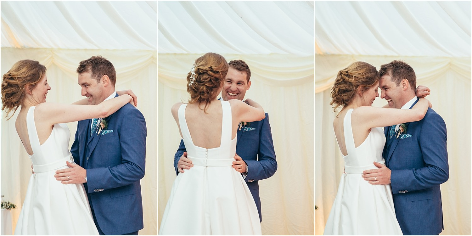 Bride and groom's first dance at their Lancashire wedding reception