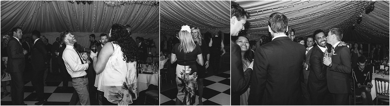 Dancing guests enjoy the party at Inn at Whitewell wedding reception