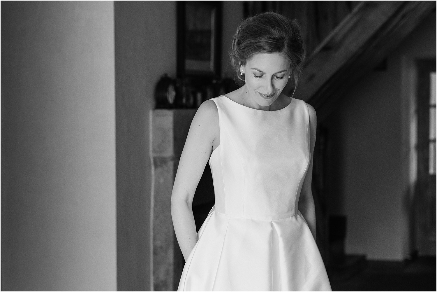 Bride in Jesus Peiro wedding dress at The Inn at Whitewell