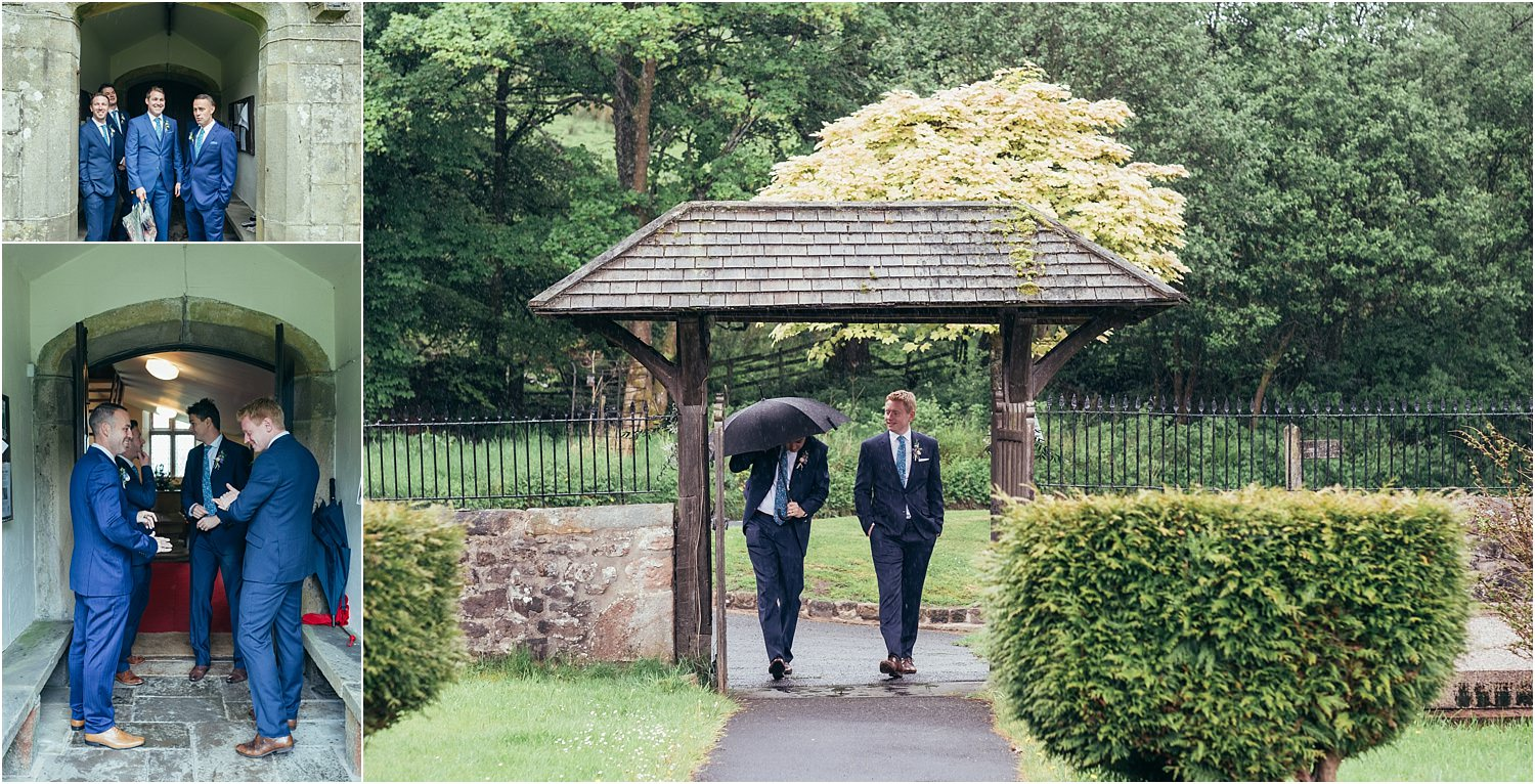Bridegorrm, best man and ushers arriving at church for Trough of Bowland wedding