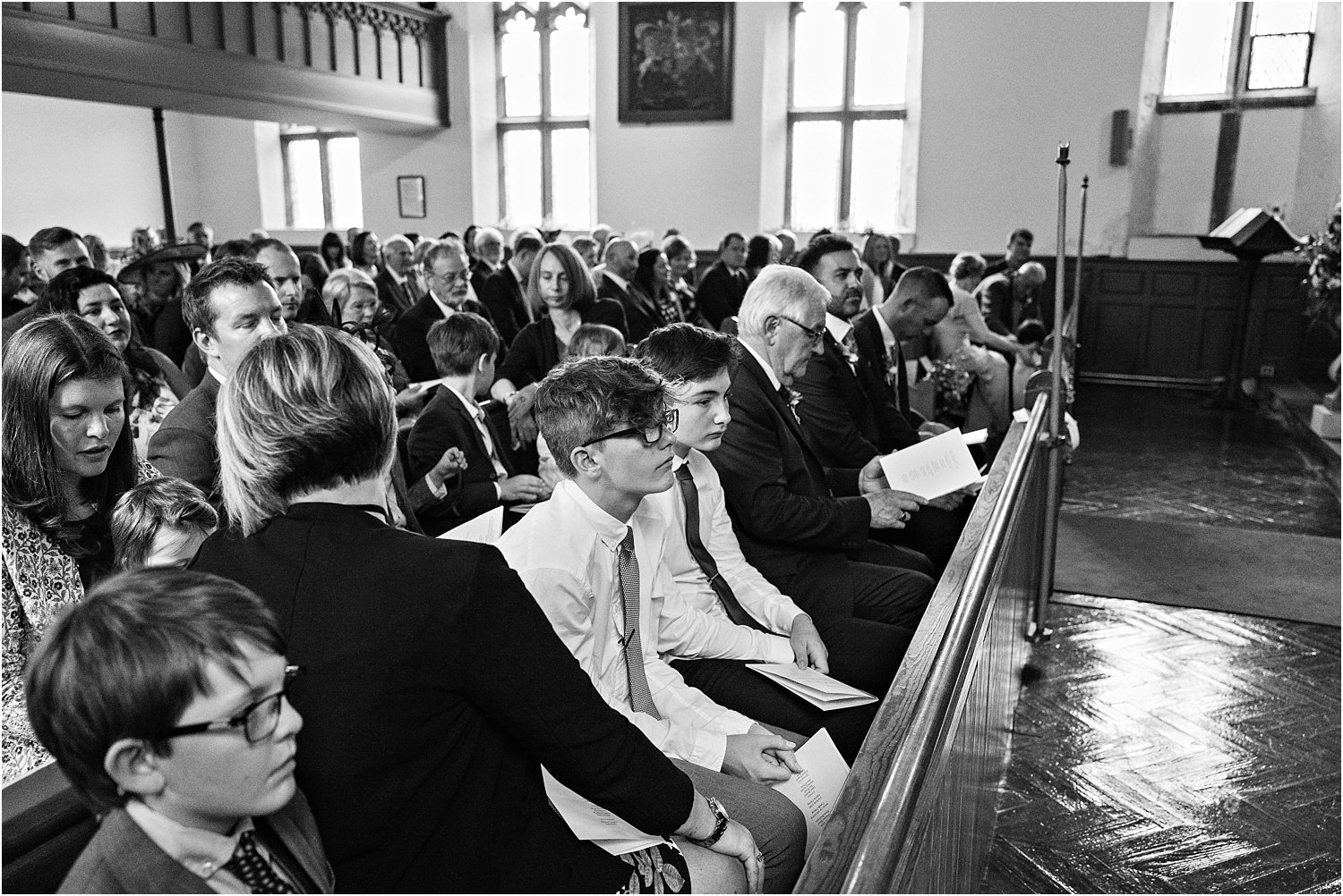Guests in church during register signing