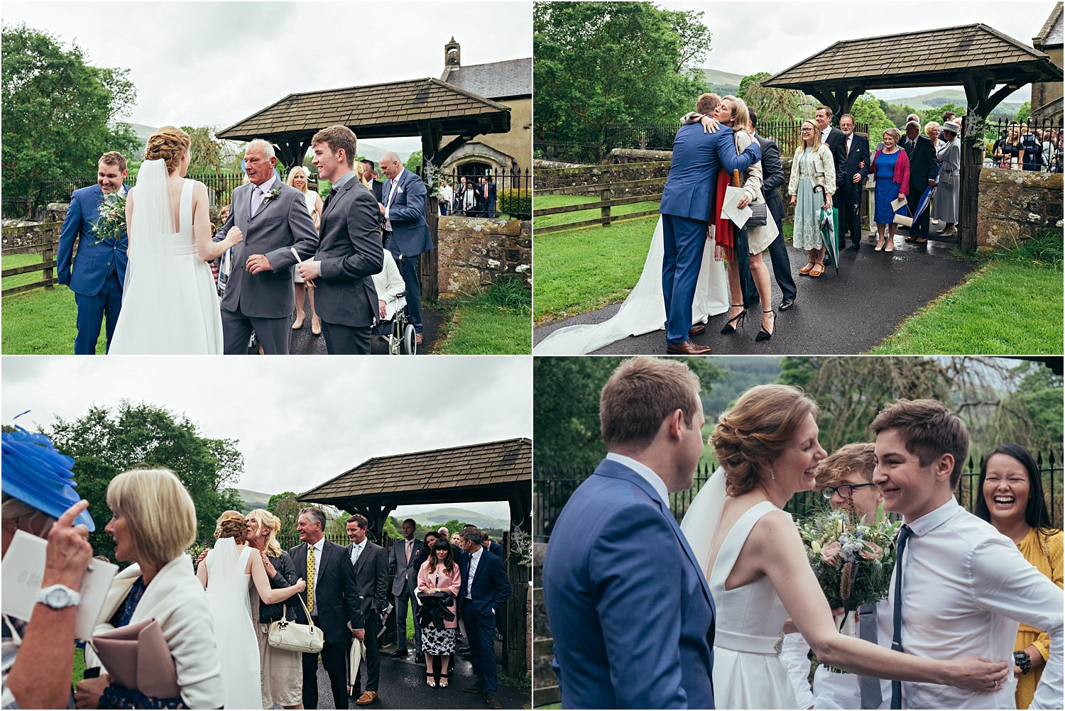 Bride and groom greet their wedding guests after their Lancashire wedding ceremony