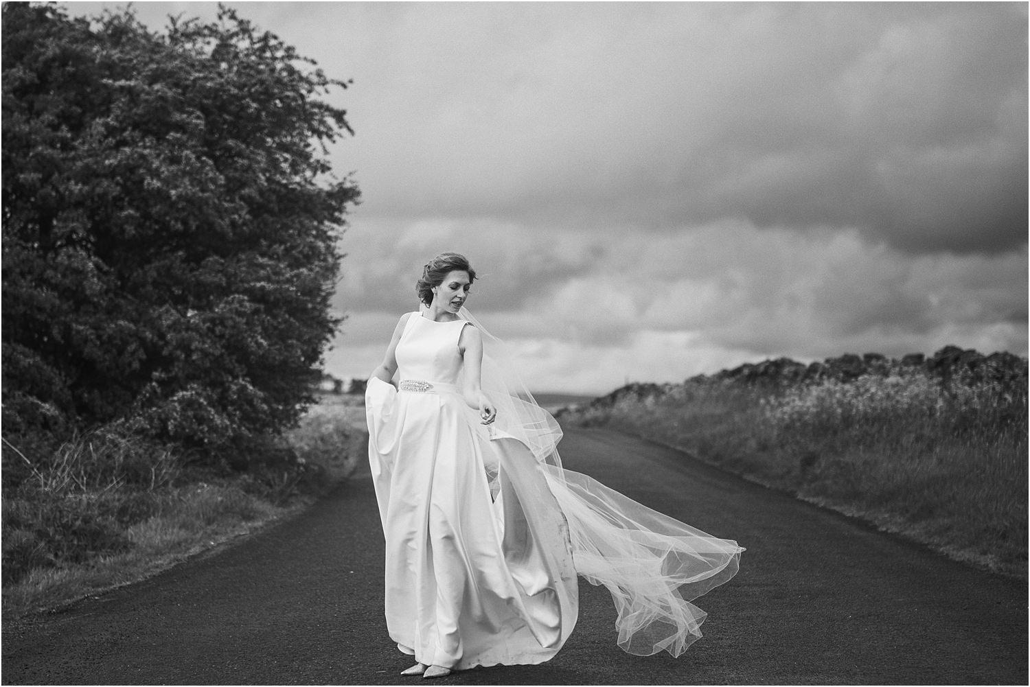 Bride in Jesus Peiro dress on Lnacshire lane.