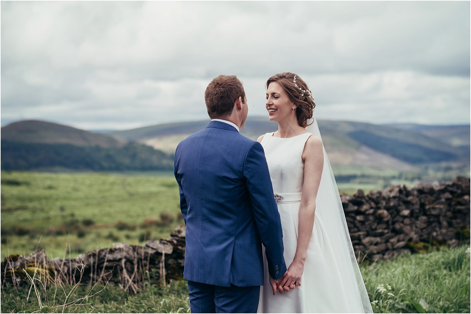 A close moment between bride and groom after Trough of Bowland wedding