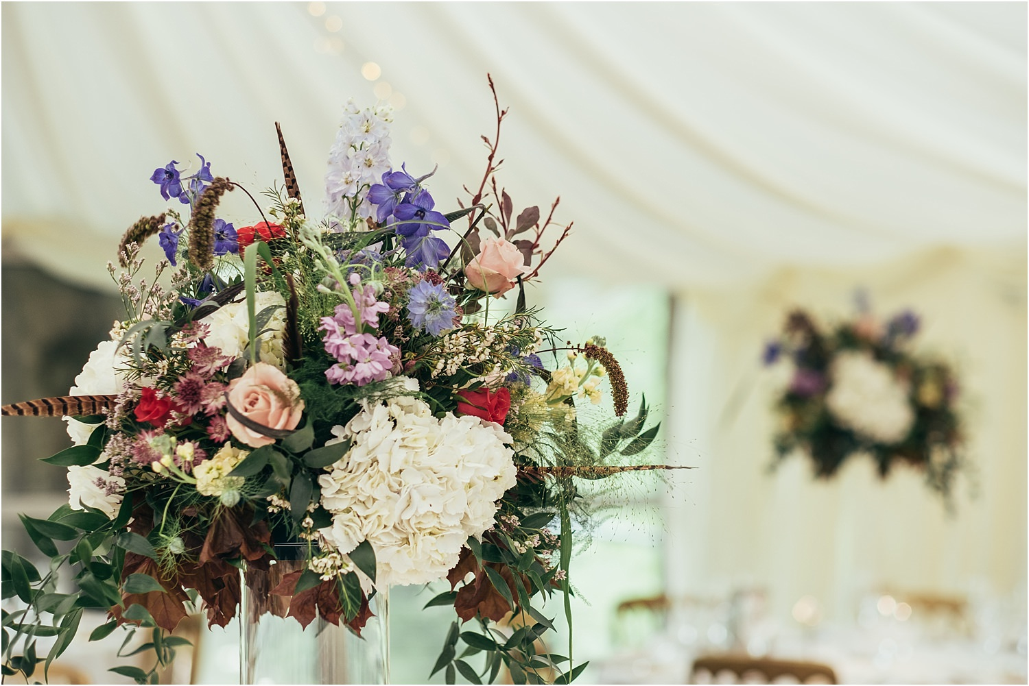 Wedding flowers by The Flower Shop of Clitheroe at Trough of Bowland wedding