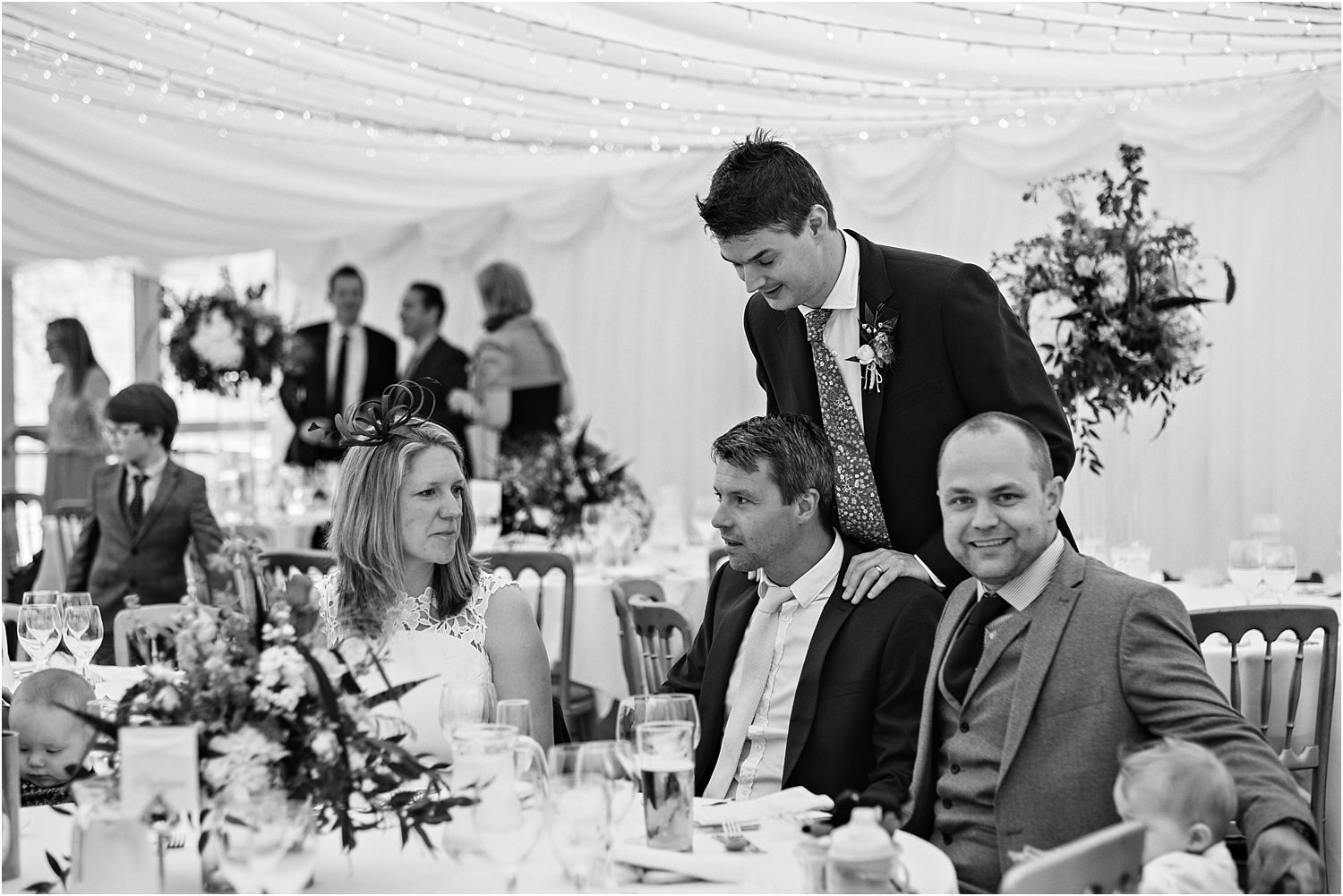 Guests getting seated at wedding reception at the Inn at Whitewell