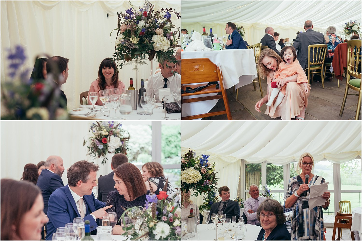 Wedding guests enjoying the reception at the Inn at Whitewell in Lancashire