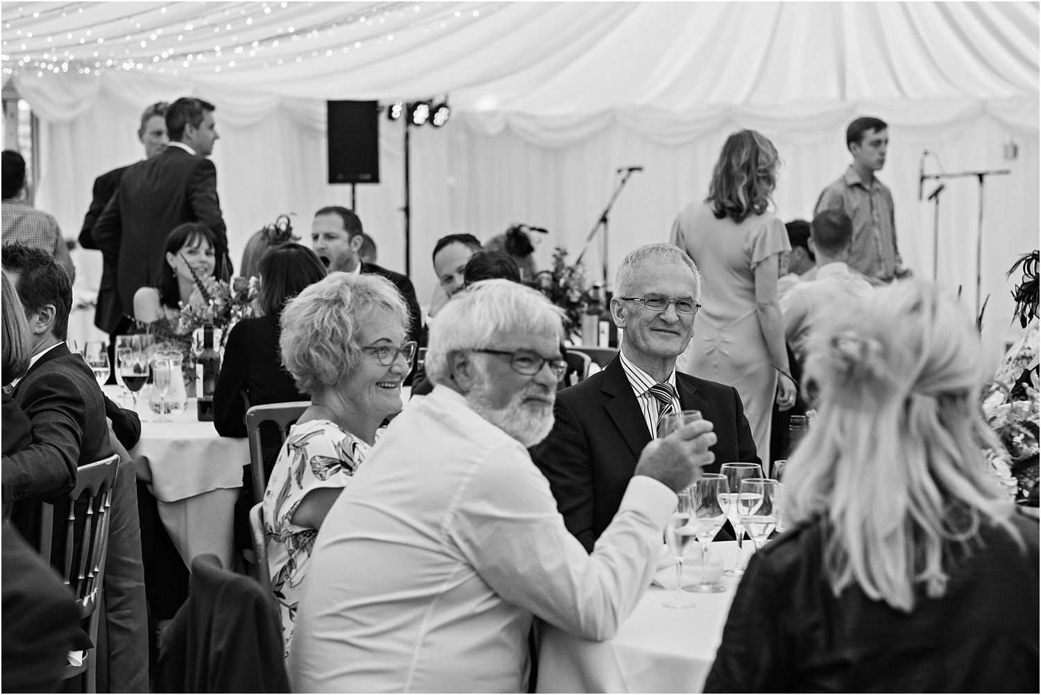 Wedding guests enjoying the reception at Lancashire wedding venue, The Inn at Whitewell