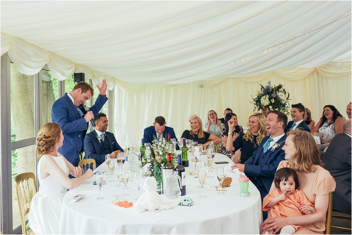 Bride groom's speech at his wedding reception at the Inn at Whitewell in Lancashire