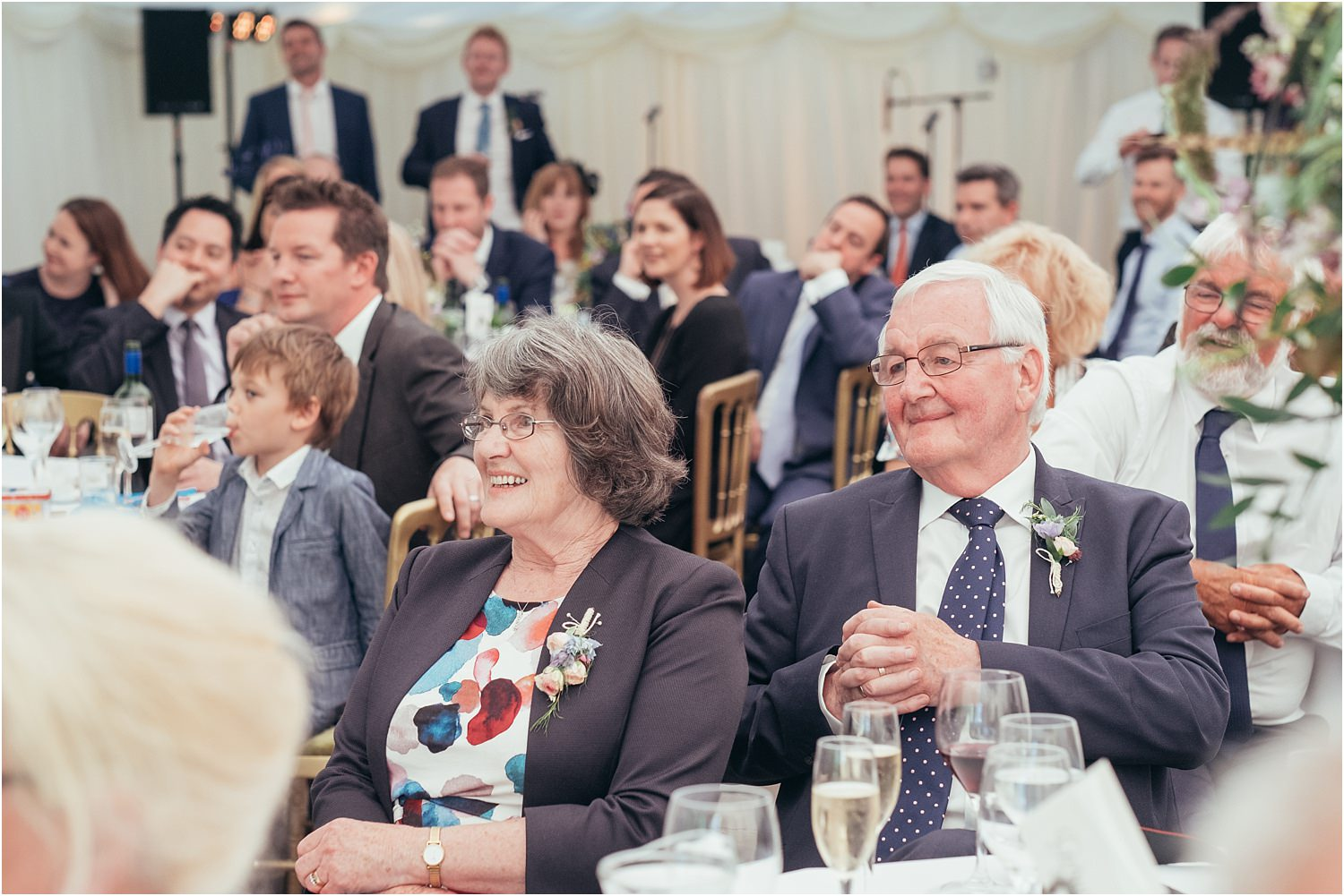Guests reactions to wedding speeches at Trough of Bowland wedding
