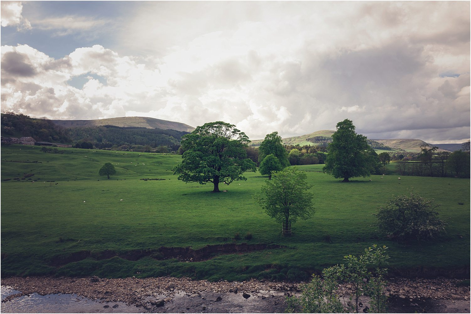 The beautiful rural view from Lancashire wedding venue, the Inn at Whitewell