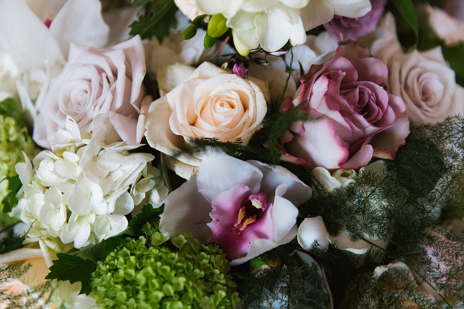 Detail of beautiful, summer wedding bouquet, Lake district wedding.